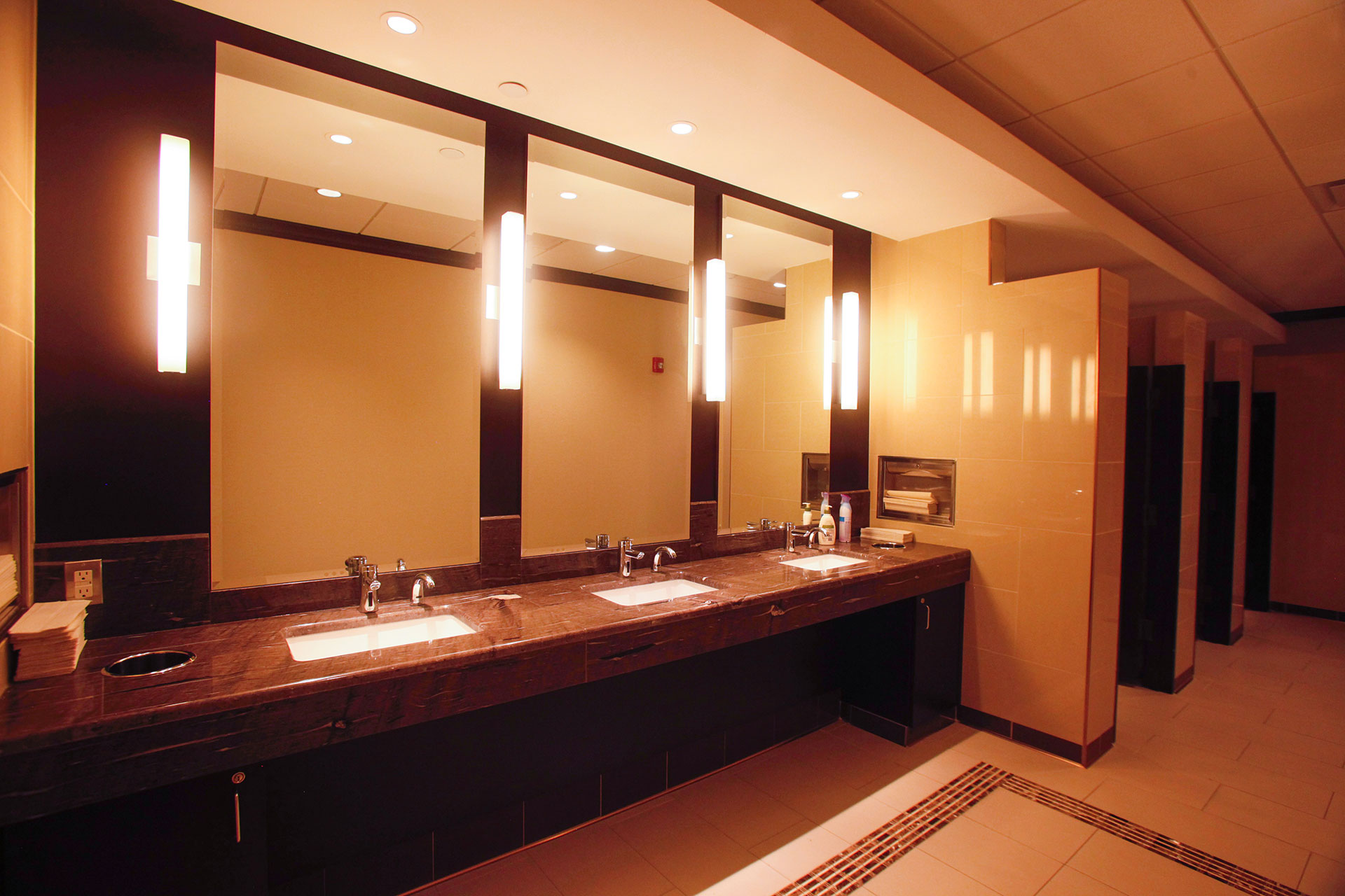 Granite countertop on stained and finished wood veneer cabinets with stained and finished wood veneer/mirror wall.