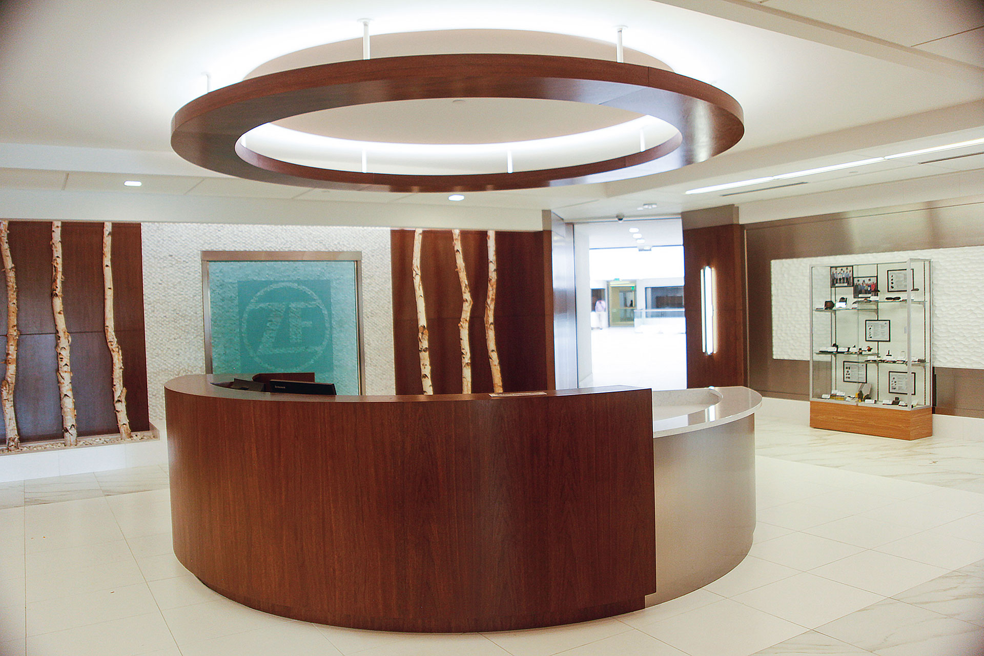 Walnut veneer wall panels and metal-laminate/textured painted wall panels. Walnut veneered hanging soffit and matching custom reception desk with walnut veneer/metal laminate wall and quartz countertops.